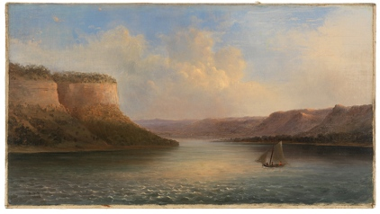 Robert Scott Duncanson (American 1821-1872), Maiden's Rock, Lake Pepin, 1862. Oil on canvas. Gift of William MacBeth, Inc, AC 1950.8