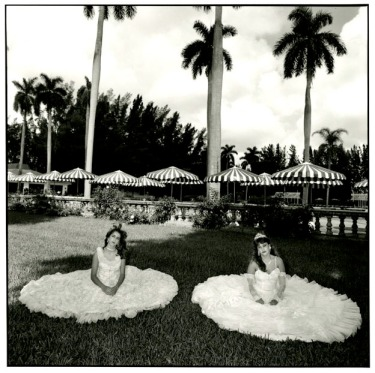 "Mary Ellen Mark (American, born 1941), ""Two Girls in Dresses on Lawn, Miami, 10/1986,"" 1986. Photograph. Gift of Stanley and Diane Person, 1993.53.7"