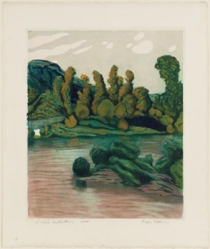 """Figure 10. Jacques Villon (French, 1875-1963); after Felix Edouard Vallotton (Swiss, 1865-1925). """"Landscape,"""" 1928. Color aquatint. Museum Purchase, 1979.118."""