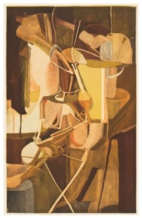 "Figure 11. Jacques Villon (French, 1875-1963); after Marcel Duchamp (1887-1968). ""The Bride (La Mariee)"", 1934. Color aquatint. Gift of David and Renee Conforte McKee, Class of 1962. Mount Holyoke College Art Museum, 2003.24.2."