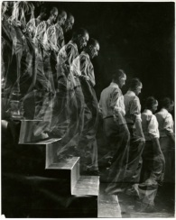 "Eliot Elisofon (American, 1911-1973). ""Marcel Duchamp descends staircase,"" 1952. Vintage gelatin silver print. Museum Purchase, 2004.14."