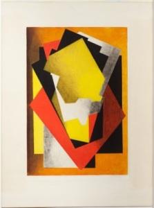 """Figure 8. Jacques Villon (French, 1875-1963). """"Composition,"""" 1928. Color aquatint. Museum Purchase, 1954.106."""
