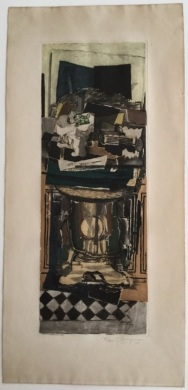 "Jacques Villon (French, 1875-1963); after George Braques (French, 1882-1963). ""Still Life,"" 1923. Color aquatint. Gift of Mr. and Mrs. Paul G. Sailer, 1985.81."